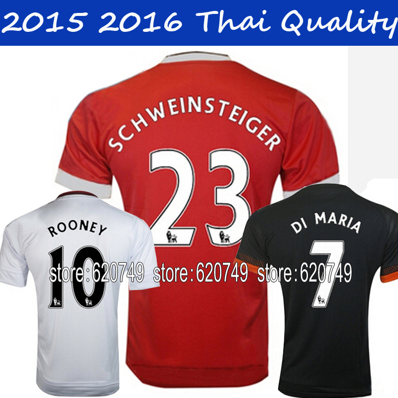 Top Thai Quality 2015 2016 ROONEY jerseys Red HOME Van Persie Falcao SCHWEINSTEIGER MEMPHIS 15 16 soccer jersey Football shirts(China (Mainland))