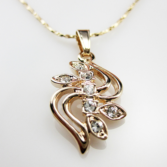 OL AAA+CZ Diamond Chain Necklaces & Pendants 18K Gold Plated Fashion Brand Crystal Party/Wedding Jewelry For Women(China (Mainland))