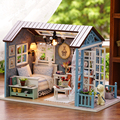 2015 New Arrive Diy Wood Miniature Doll Home 3D Puzzle Dollhouses Furnishings Mannequin Package Toys Home for Dolls Birthday Present