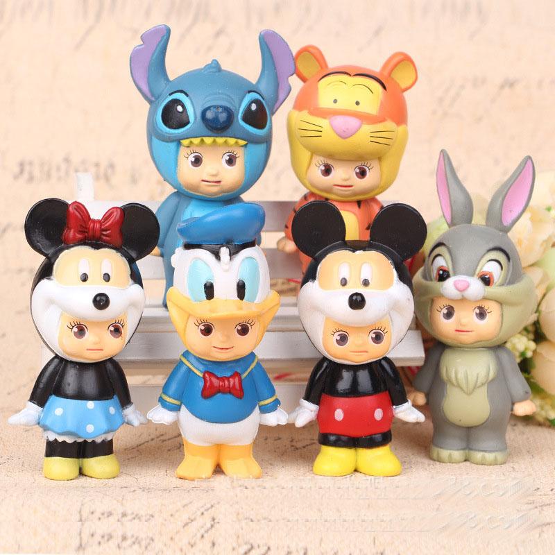 New style 6pcs/set sonny angel doll ornaments Mickey Minnie Donald Duck doll plastic ornaments(China (Mainland))