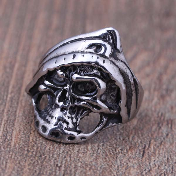 2016 New Stainless Steel Gothic Punk Style Death Skull Head Biker Finger Ring For Women And Men Cool Jewelry holiday Gift (A474)(China (Mainland))