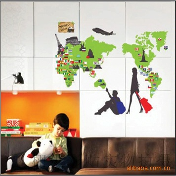 world map wall stickers living room home decorations creative pvc decal mural art diy office wall art