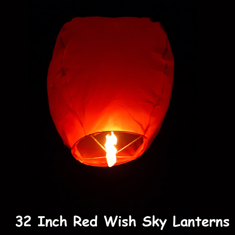 """10pcs/lot 32"""" Red Chinese Wish Lantern Paper Sky Lantern Hot Air Balloon For Party Wedding Proposal Outdoor Activity Good Luck(China (Mainland))"""
