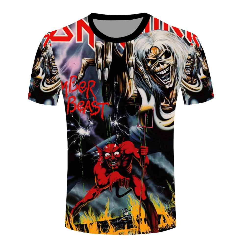 Newest T Shirts Funny Fashion Iron Maiden Band T-shirts Men's Rock Music Style Collectible O Neck Tee Shirts(China (Mainland))