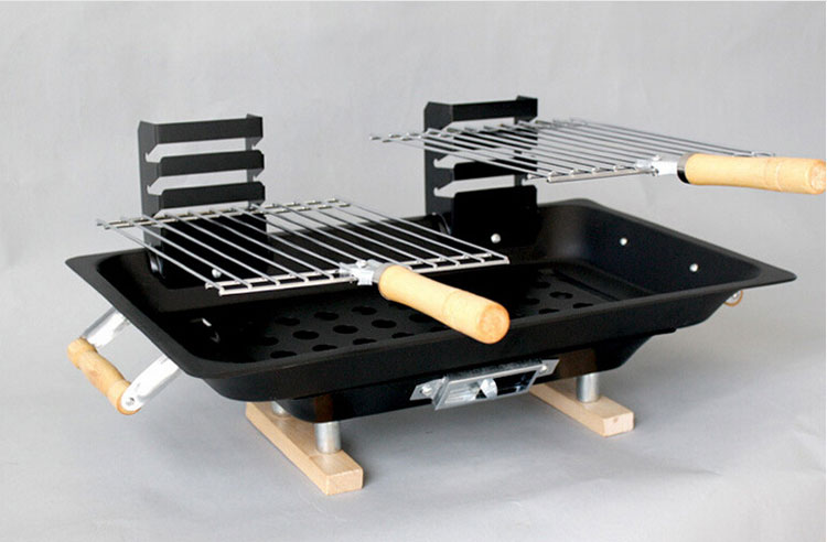 Free Shipping-12Pcs/Lot Table Model Double Charcoal Barbecue bbq Grill Outdoor Or Indoor Hot Sale(China (Mainland))