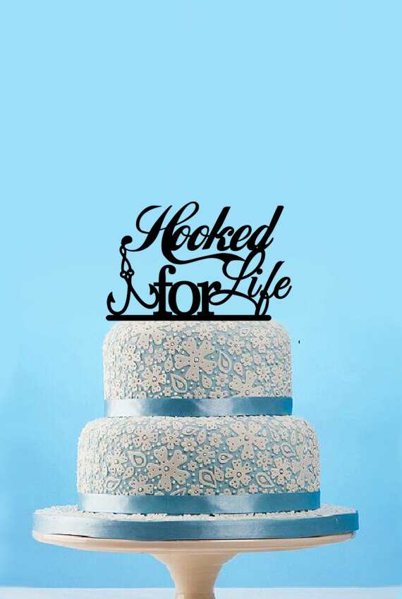 Hooked For Life Fishing Wedding Cake Topper Custom Cake Topper Wedding Bridal Shower Cake Topper Party Decoration, 12 colors(China (Mainland))