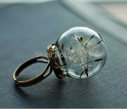 1PC Free Shipping Real dandelion ring , dandelion seed jewelry , round-shaped dandelion glass bottle rings dandelion jewelry(China (Mainland))
