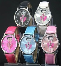 New Fashion Betty Boop Fans Watch Womens Ladies Girls Students Round Dial Quartz Wrist Gift Watches, Free & Drop Shipping