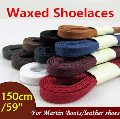 "2015 Weiou White Black Flat Wax Shoelace Cotton Shoe Lace 8mm width shoestring Cord for Unisex Leather Shoes Boots 150cm/59""(China (Mainland))"