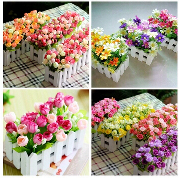 1 pots of flower flower simulation artificial plastic decorative wholesale flower set Little Daisy fence(China (Mainland))