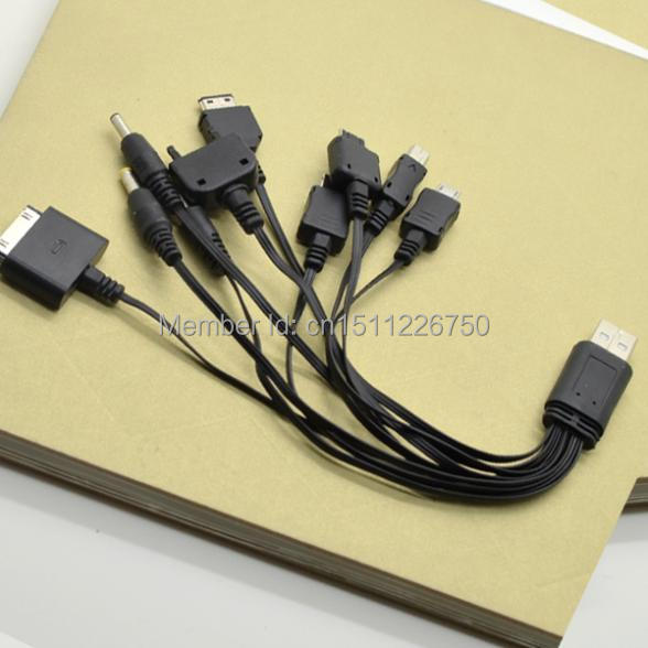 Free Shipping 10 In 1 Universal USB Charger Cable Cord For Phone iPhone iPod Samsung Nokia Y550 QIw87l(China (Mainland))