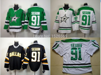 Cheap Men's Dallas Stars #91 Tyler Seguin Jersey Black White RED Lacing Neck Vintage Sewn authentic Hockey Jerseys(China (Mainland))