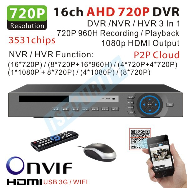 cctv 16channel video Recorder with HD 720p Real time dvr Recorder 1080P output Hybrid NVR for hikvision ip camera 3531chips(China (Mainland))