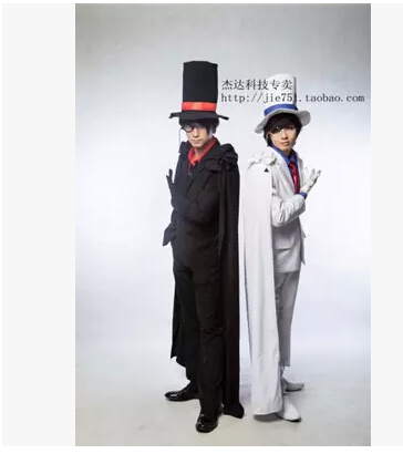 Фотография Anime Case Closed cosplay Kaitou Kiddo  Kid the Phantom Thief  Black and white Set Suit cos Halloween party