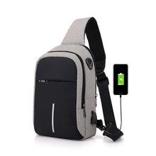 FengDong carga usb pequeno saco de um ombro sacos de homens mensageiro corpo cruz sling bag peito 2019 novos bagpack masculino à prova d' água sacos(China)