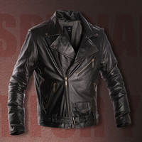 Mens Genuine Leather Jacket mens leather jackets and coats trench coat  jaqueta de couro masculina leather suede