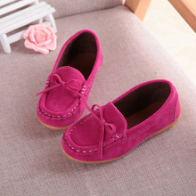 20156 children prewalker Casual shoes kids girls Flat bottomed suede  bow tie Non slip ventilation ZG281