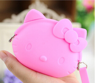 9.5*8cm Sweet Hello Kitty Silicone Coin Purse Wallet Pouch Case Clutch Key Wallet Change Card Bag KCS(China (Mainland))