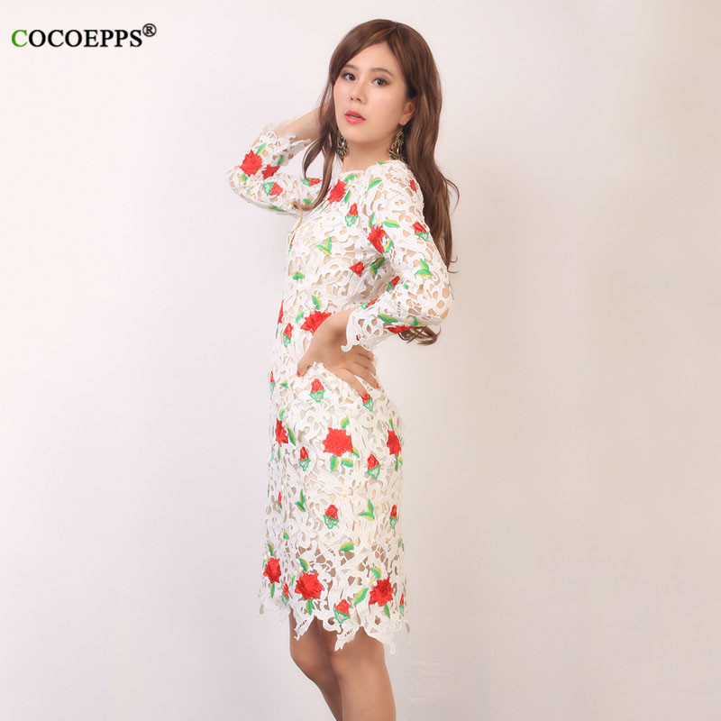 COCOEPPS Embroidery Rose Dress Flora Summer Brand Dress Flower Pattern Women Clothing O-neck Printed Formal Dresses