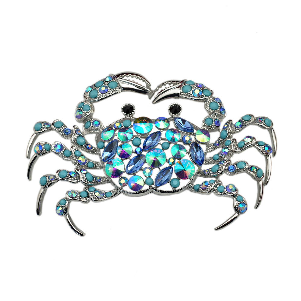 Blue AB Crystal Crab Brooch Pin Rhinestone Animal Metal Fashion Jewelry Accessory Gift 2016(China (Mainland))