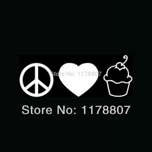 50 pcs/lot Peace Love Cupcake Sticker Cute Vinyl Decal For Car Window Truck Bumper Auto Door Laptop Kayak Girlie Gift Cake Tv