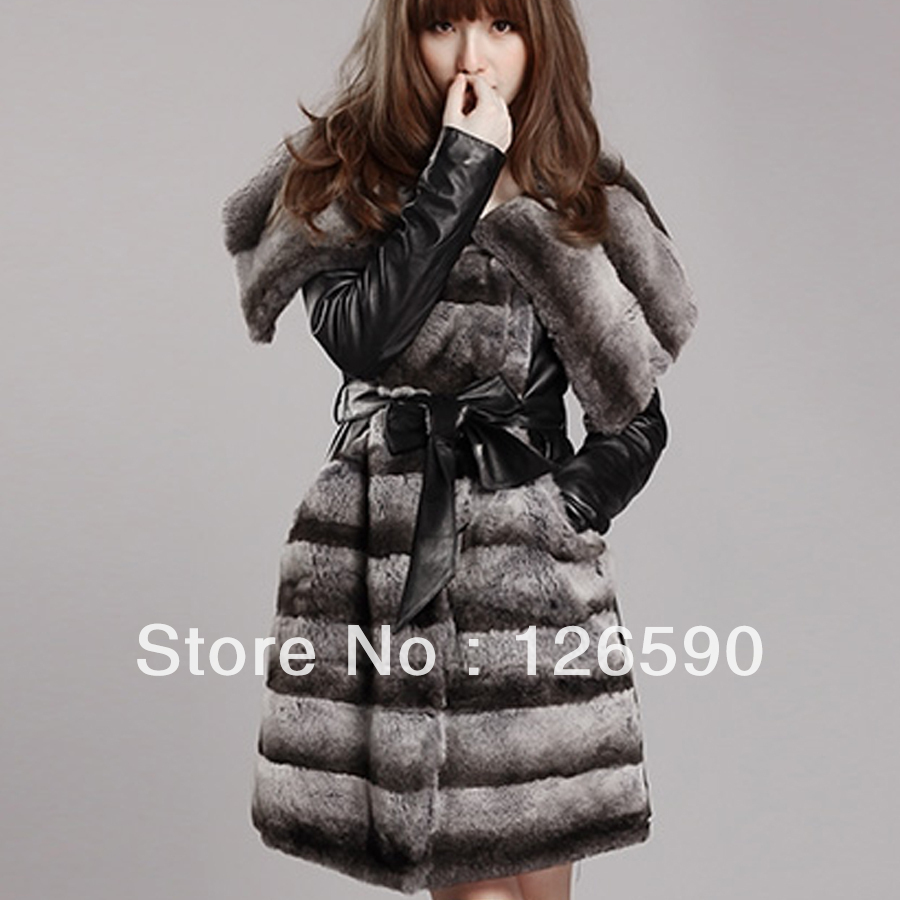 2015 new hot women's autumn -winter medium rex rabbit fashion slim female Chinchilla Fur Coats genuine sheep leather belt - Fashion store