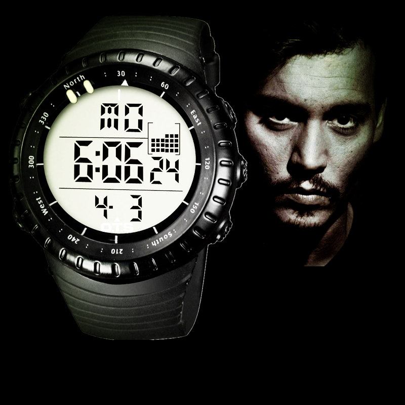 Classic Northern Europe Stylish Finland Design Outdoor Running watch OTS Core Full Black Men Large Face LED Digital Sports Watch(China (Mainland))