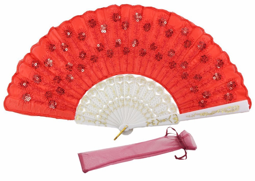 Red & White Chinese Folding Hand Held Fan Embroidering Art Sequins Peacock Feather Design(China (Mainland))