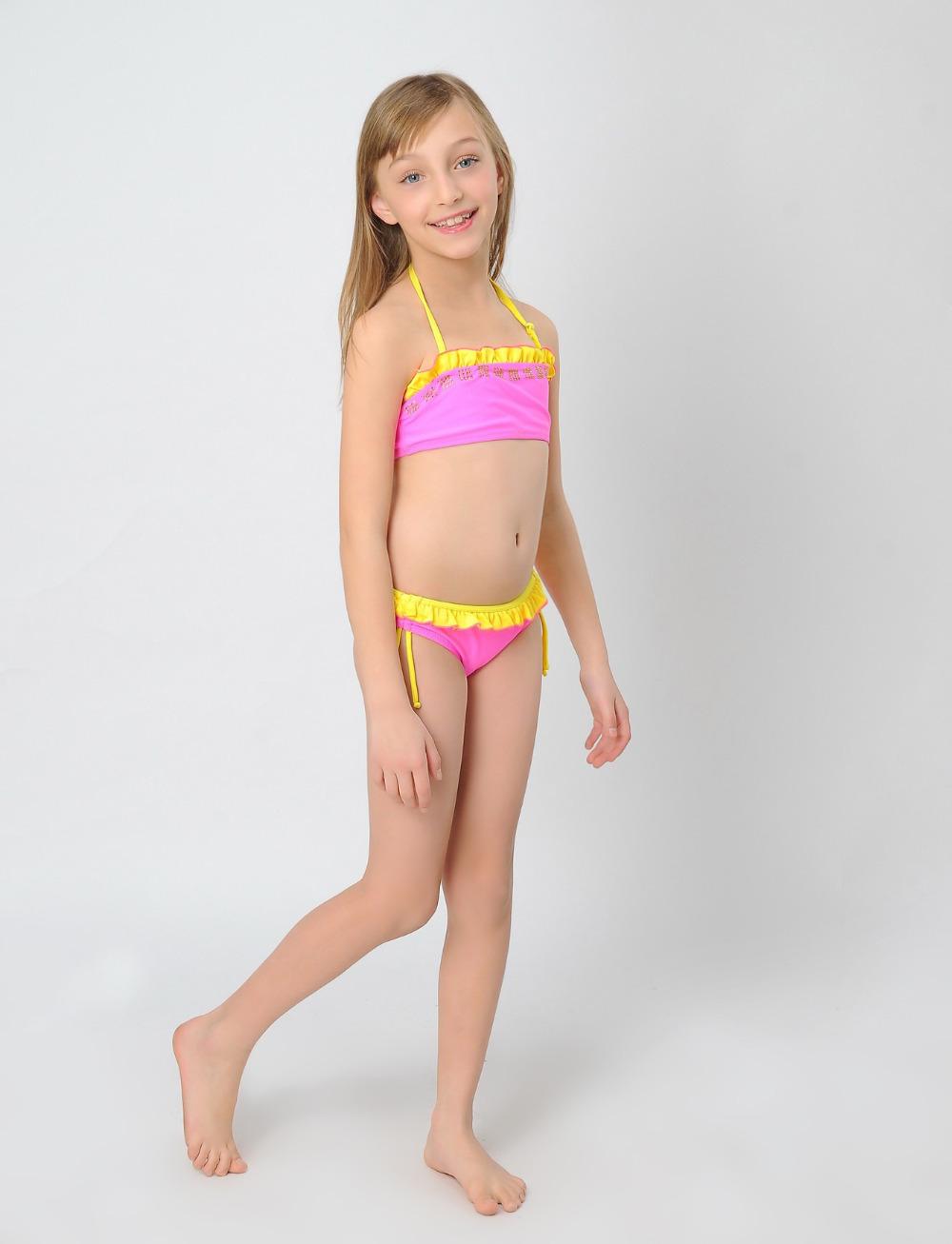 Девочки принцесса купальный костюм бикини купальник для девочки дети купальник горный хрусталь с кружево biquini infantil для 2 - 11 лет
