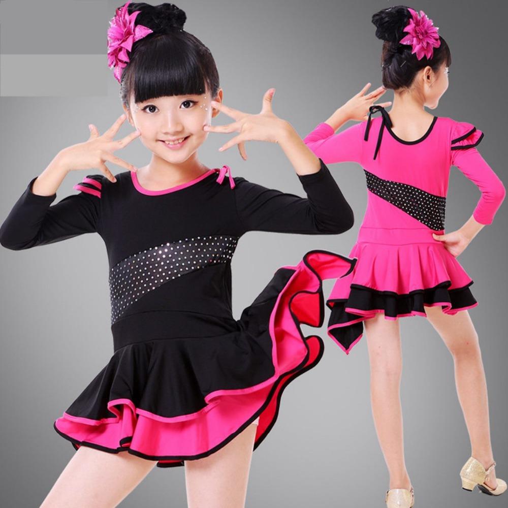 Childrens Performance Stage Latin Salsa Ballroom Dance Dress Sequined Girls Kids Dancewear ...