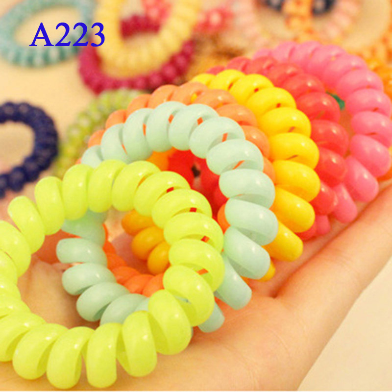Free Shipping 5cm 10Pcs/lot Hot Sale Cute Candy Color Hair Jewelry Headbands Telephone Line Hair Rope for Women Hair Band(China (Mainland))