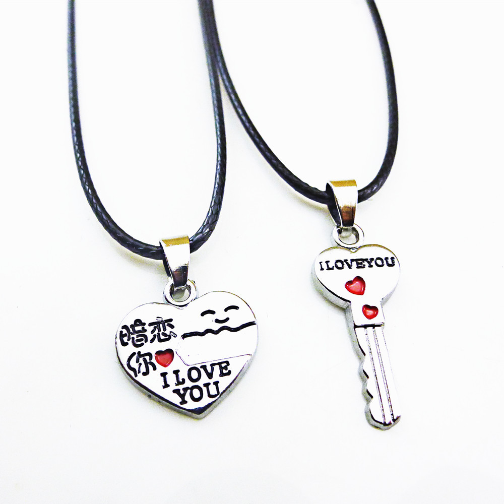 2015 New Fashion Love Lock And Key Pendant Jewelry Sales Pendant Men Jewelry For Women Stainless Steel Tag Necklace Women(China (Mainland))