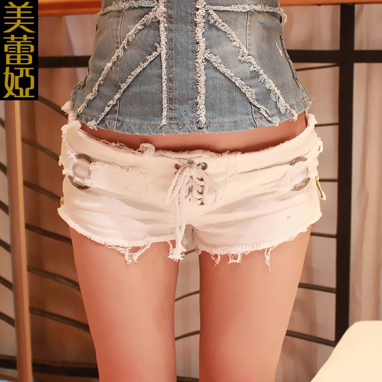 Women shorts 2016 summer woman short feminino ladies denim low waist shorts hole Sexy Slim Lacing Nightclub bar short 35(China (Mainland))