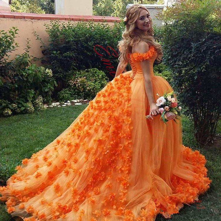 2017 newest royal long train wedding dresses gowns customized orange flower tulle ball gown arabic bridal