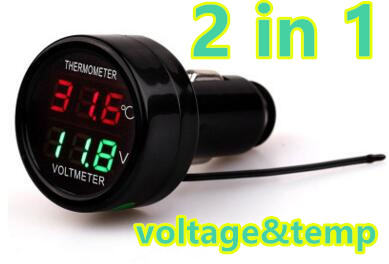 Digital LED Dual Display Car USB Charger Battery Monitor Voltmeter Thermometer Auto Temperature Meter 12V/24V 40%off(China (Mainland))