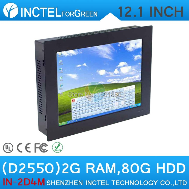 12.1 inch LED touchscreen all in one pcs with HDMI COM Intel Dual Core D2550 1.86Ghz Windows XP 7 Full Metal