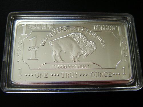 Free shipping wholesale Non-magnet 5pcs/lot 1 oz 999 fine german silver plated bar buffalo bullion bar coin,german silver bar(China (Mainland))