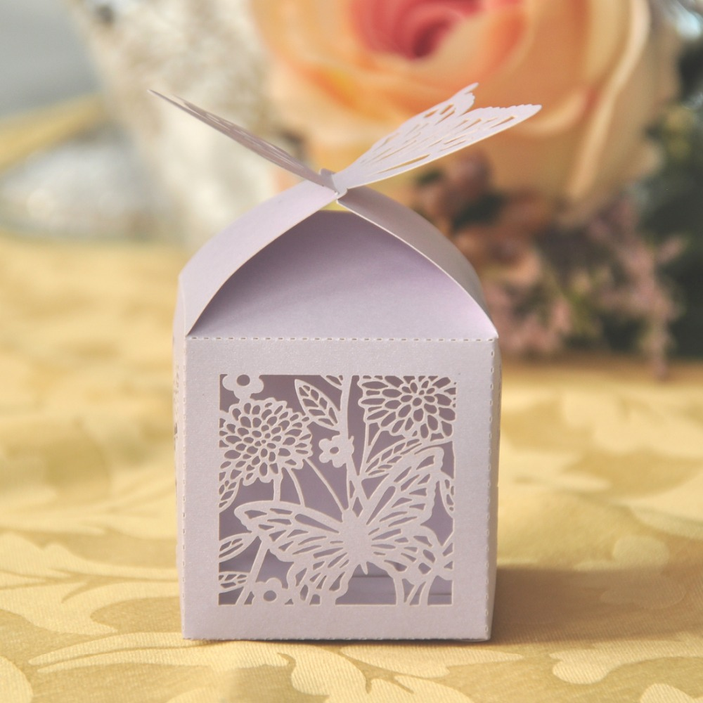 Butterfly Design Laser Cut Bridegroom and Bride Wedding Box Pearl Paper Wedding Party Show Candy Gifts Box(China (Mainland))