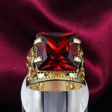 GALAXY Luxury Fine Jewelry Lovers Engagement Ring With 18K Real Gold Plated Big Red Ruby Stone