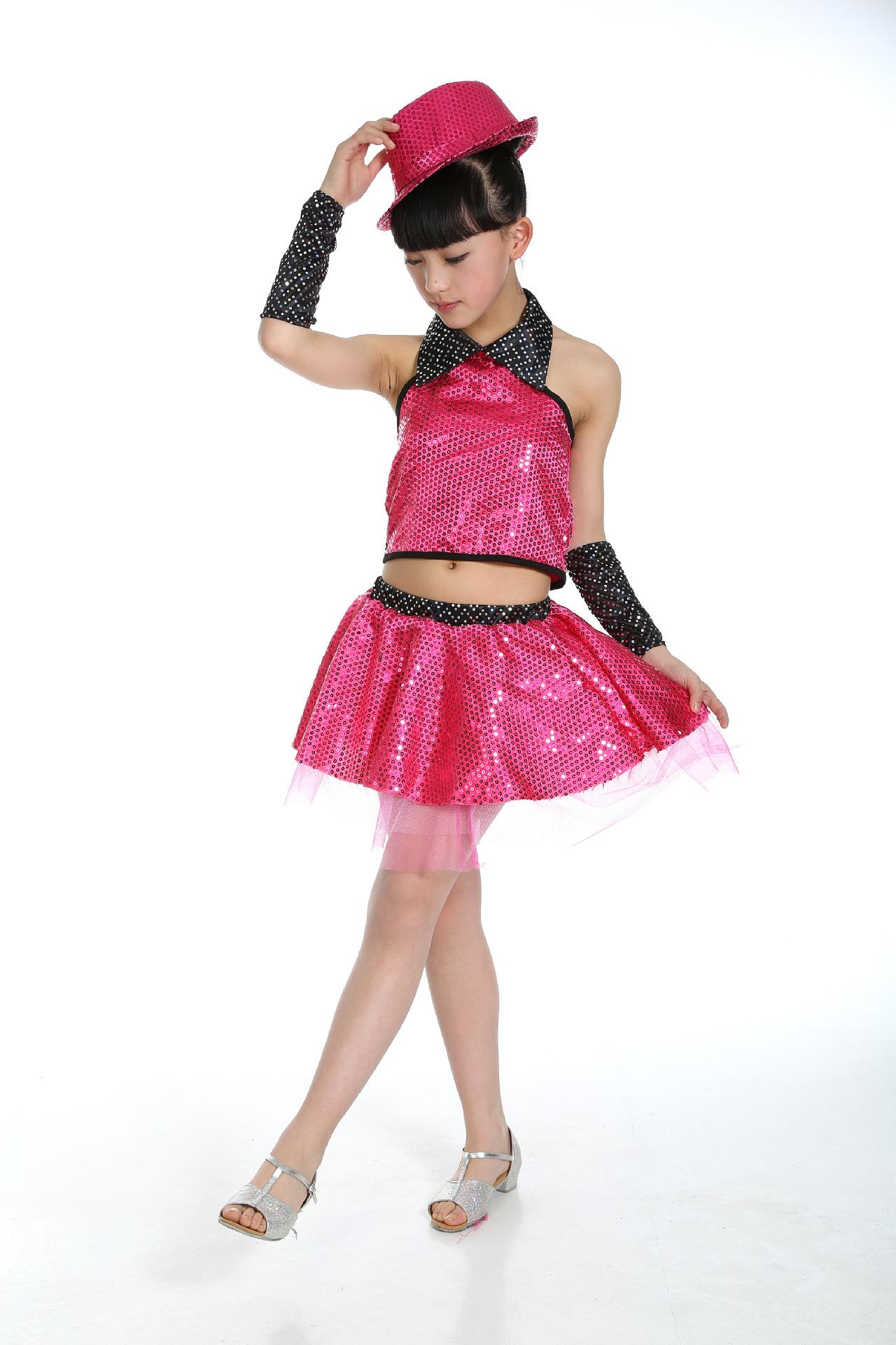 Top+skirt+sleevlet Children Jazz Dance Cotumes Sequins Girl Modern Dance Clothing Magician Stage Performance Costume Sets 89