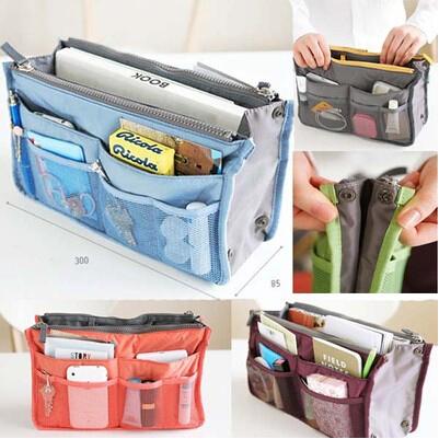 Women Insert Handbag For Necessaires Organizer Purse Large liner Organizer Inner Bag travel storage bag Makeup Bag(China (Mainland))