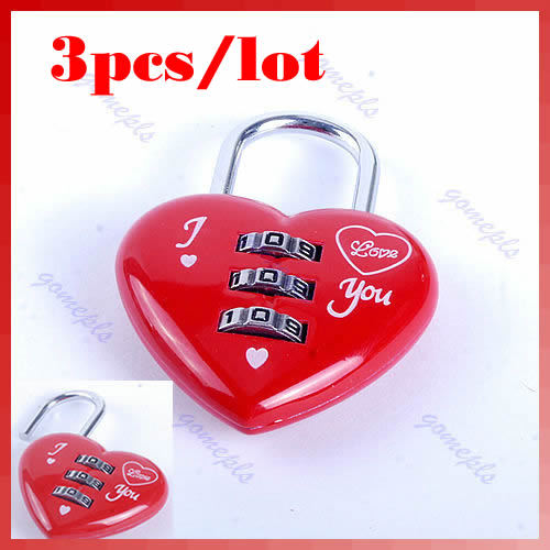 Free Shipping 3pcs/lot Mini Cute 3 Digits Luggage Suitcase Padlock Red Heart Shaped Coded Lock<br><br>Aliexpress