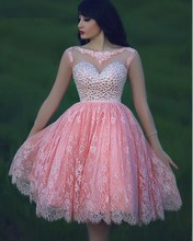 Hot Sale Lace Pink Homecoming Dresses 2016 Crystal Short Party Dress For Prom Backless Women Vestidos Cocktail Free Shipping