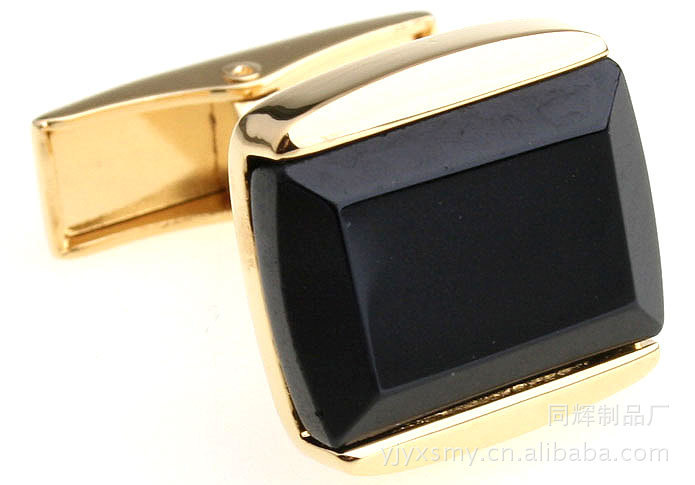 100pairs/lot - Made of high-grade metal jewelry black onyx cufflinks black cufflinks wholesale glass drilling(China (Mainland))