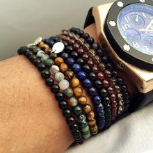 Top Quality Elastic Men's Beaded Bracelet,Turquoise,Black Onyx,Red Agate,Tiger Eye Semi Precious Stone Silver Bracelet Jewerly(China (Mainland))