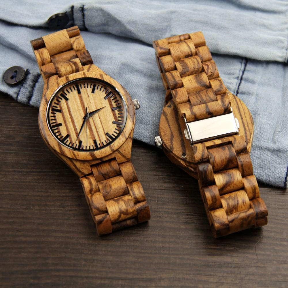 2016 Новые Мужские Деревянные Часы Новогодний Подарок Браслет Кварцевые Часы Японии Движения Древесины Женщины Наручные Часы