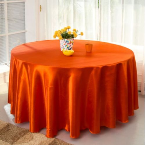 10pcs Coral orange 120 Inch Round Satin Tablecloths Table Cover for Wedding Party Restaurant Banquet Decorations(China (Mainland))