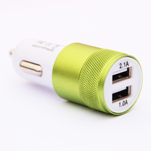 12V 2.1A&1A Aluminum 2 USB Ports Universal Dual USB Car Charger For iPhone 5 6 6 plus For ipad 2 3 4 5 For Samsung Galaxy S4 S5(China (Mainland))