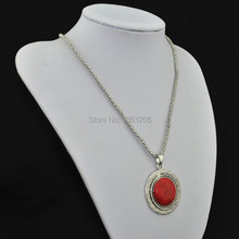 N14 Red Turquoise Stone Natural Stone Necklace Pendant Jewlery Women Vintage Look Tibet Alloy free shipping