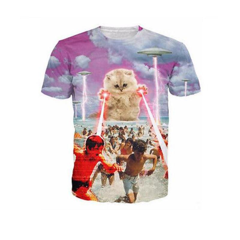 YNM Kitten laser Cats 3D printed tees lightning beach swim graphic T-shirt space galaxy t shirt men/women tops clothing brand(China (Mainland))